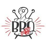 烤肉党标签、商标和象征导航在白色背景隔绝的模板 牛排餐厅餐馆菜单设计元素 库存图片