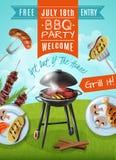 烤肉党海报 向量例证