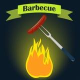 烤肉党邀请卡片设计模板 火,香肠,叉子 传染媒介例证,平的样式 皇族释放例证