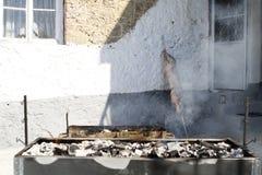 烤肉和羊羔在唾液 库存照片