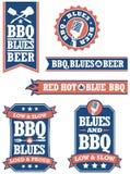 烤肉和蓝色徽章 免版税库存照片
