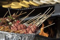 烤肉和Arepas 图库摄影
