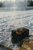 烤肉在后院在冬天 库存照片