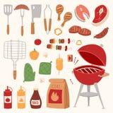 烤肉在家或烤厨房设备传染媒介平的例证的餐馆rarty晚餐产品bbq 库存例证