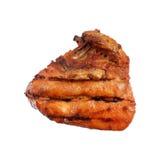 烤肉在白色隔绝的烤鸡胸脯 免版税库存照片