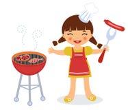 烤肉女孩 免版税库存照片