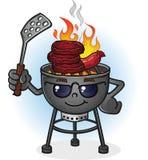 烤肉格栅与态度的漫画人物 免版税图库摄影