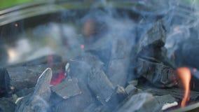烤肉格栅查出 热的煤炭和灼烧的火焰 库存图片