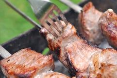 烤肉牛肉肉Kebabs和叉子 库存照片