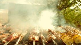 烤肉用可口烤肉和土豆在格栅 烤肉党 木炭格栅 影视素材