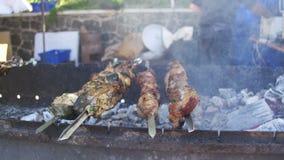 烤肉用可口烤肉和菜在串在格栅烹调了 股票视频