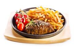 烤肉用在平底锅的炸薯条 库存图片