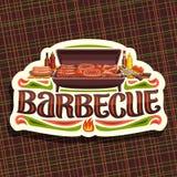 烤肉的传染媒介商标 库存例证