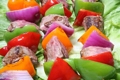 烤肉肉蔬菜 免版税库存照片