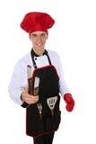 烤肉英俊的人 免版税库存图片