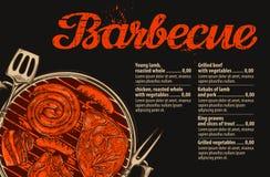 烤肉,格栅 菜单设计传染媒介模板餐馆的,咖啡馆 手拉的剪影食物,肉 皇族释放例证