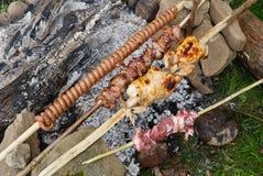 烤肉rosting的鸡和肉 库存图片
