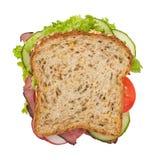 烤肋条肉三明治顶视图 库存图片