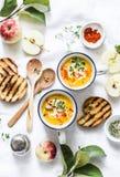 烤胡桃南瓜和苹果素食汤在轻的背景,顶视图 免版税库存照片