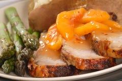 烤腰部桃子猪肉调味汁 图库摄影