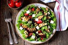 烤茄子沙拉、蕃茄、希脂乳和莴苣与橄榄油和红色芳香抚人,海盐和桃红色胡椒 库存图片