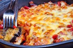 烤茄子用乳酪 库存照片