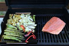 烤菜和三文鱼内圆角芦笋和葱土豆 免版税库存图片