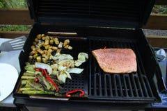烤菜和三文鱼内圆角芦笋和葱土豆 免版税库存照片