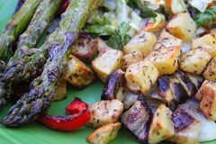 烤菜特写镜头芦笋和葱土豆 库存图片