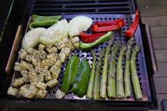 烤菜芦笋和葱土豆 库存图片