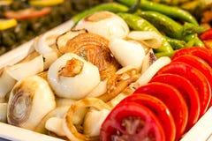 烤菜葱,绿色辣椒,夏南瓜, tomatoe 库存图片