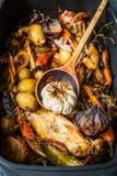 烤菜鸡汤或蔬菜炖肉与木匙子 免版税图库摄影
