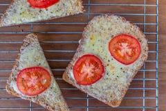 烤蕃茄和乳酪在多士 免版税库存图片