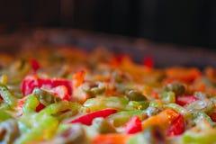 烤薄饼用甜椒,肉,菜,熔化了乳酪、蕃茄和绿橄榄 选择聚焦,特写镜头 在烤箱 免版税库存照片