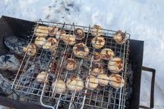 烤蘑菇在火盆,顶视图,特写镜头烹调了 库存照片