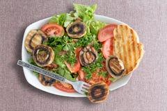 烤蘑菇沙拉用敬酒的面包 免版税库存图片