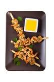 烤虾串起开胃菜 免版税图库摄影