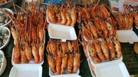 烤虾或大虾,海鲜菜单 免版税库存照片