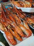 烤虾或大虾,海鲜菜单 免版税库存图片