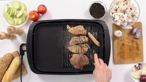 烤过程的肉和菜 影视素材