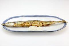 烤长凳竹刀鱼 免版税库存图片