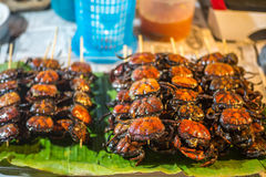 烤领域螃蟹泰国样式 免版税库存图片