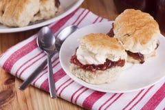 烤饼用草莓酱和打好的奶油 免版税库存照片