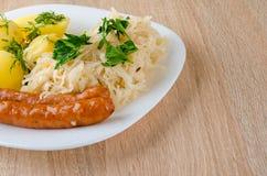 烤香肠用蒸的圆白菜 库存图片