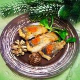 烤鱼和圣诞树 免版税库存照片