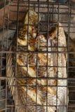 烤鱼在木炭花格烤了 库存照片