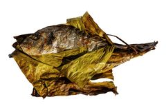烤鱼在香蕉叶子包裹的镀金面领袖鲂隔绝在白色背景 Sparus aurata 库存图片