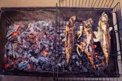 烤鱼用在火的香料 库存图片