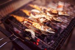 烤鱼用在火的香料 免版税库存图片