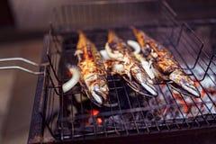 烤鱼用在火的香料 免版税图库摄影